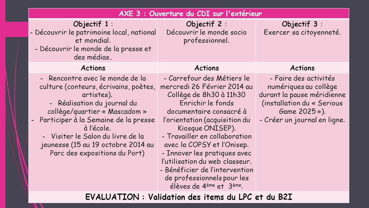 EVALUATION : Validation des items du LPC et du B2I