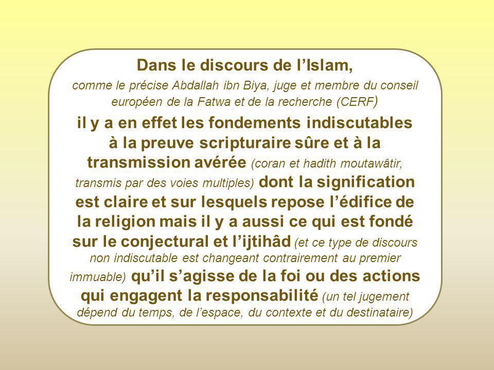 Dans le discours de l'Islam,