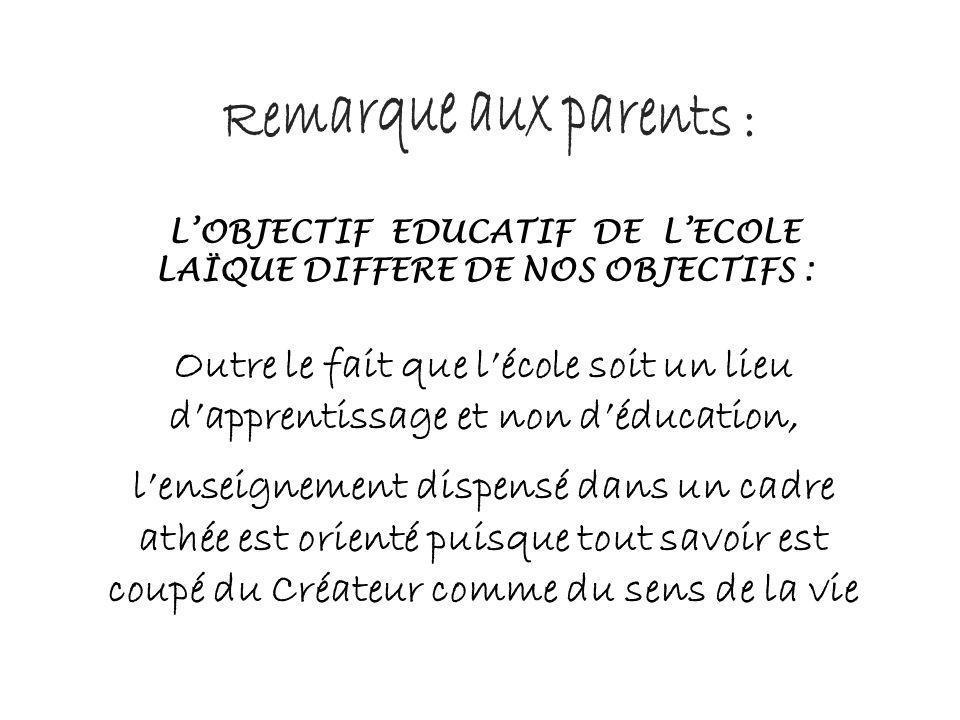 L'OBJECTIF EDUCATIF DE L'ECOLE LAÏQUE DIFFERE DE NOS OBJECTIFS :