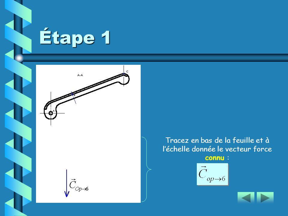 Étape 1 Tracez en bas de la feuille et à l'échelle donnée le vecteur force connu :