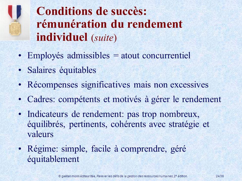Conditions de succès: rémunération du rendement individuel (suite)