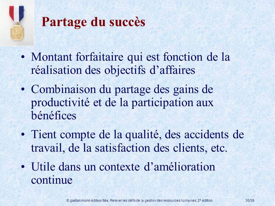 Partage du succès Montant forfaitaire qui est fonction de la réalisation des objectifs d'affaires.