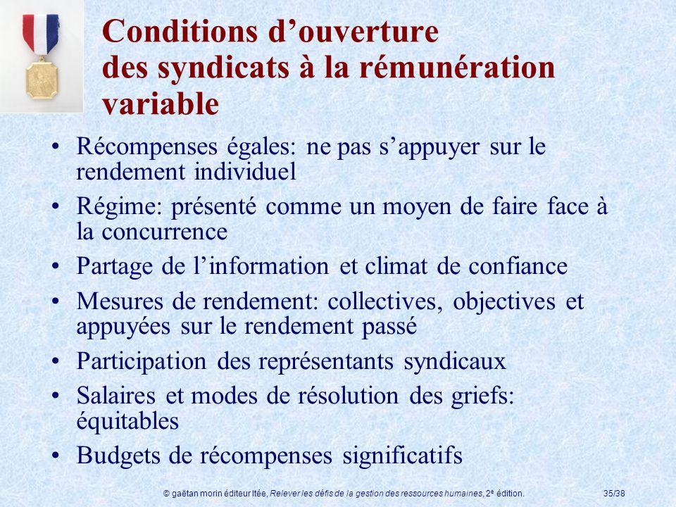 Conditions d'ouverture des syndicats à la rémunération variable