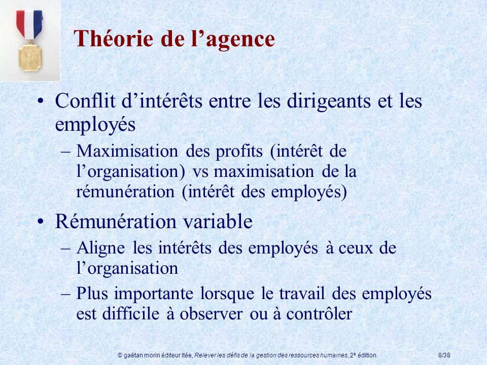 Théorie de l'agence Conflit d'intérêts entre les dirigeants et les employés.