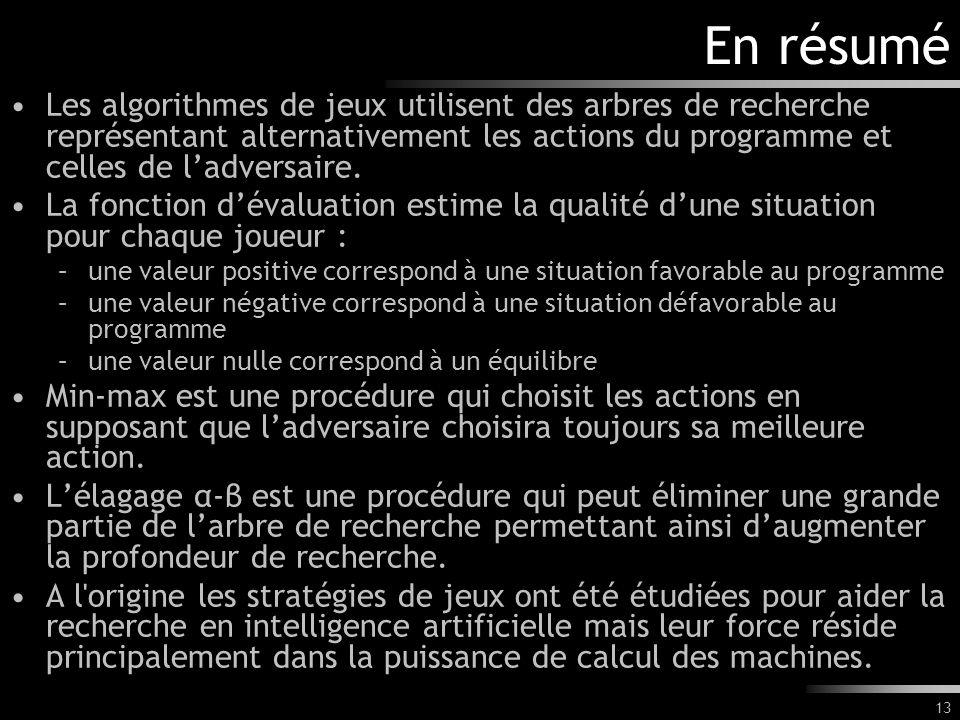 En résumé Les algorithmes de jeux utilisent des arbres de recherche représentant alternativement les actions du programme et celles de l'adversaire.