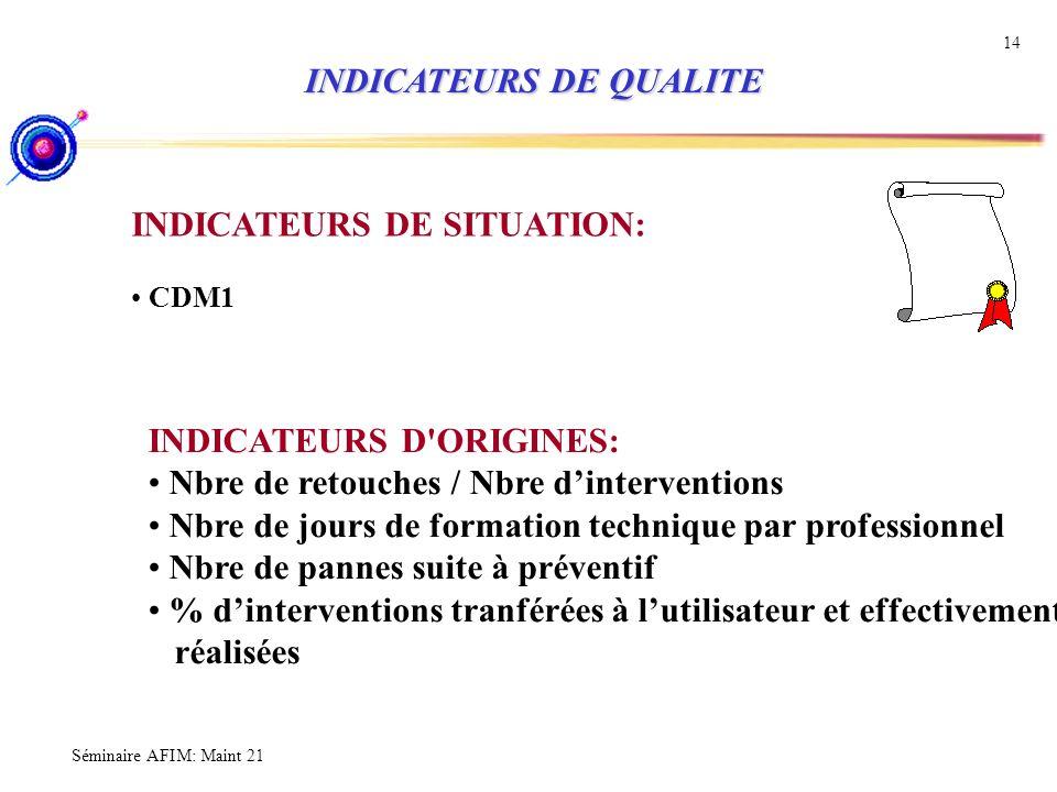INDICATEURS DE QUALITE