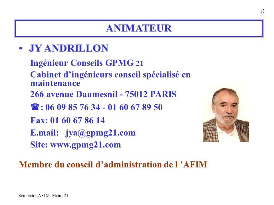 ANIMATEUR JY ANDRILLON Ingénieur Conseils GPMG 21 maintenance