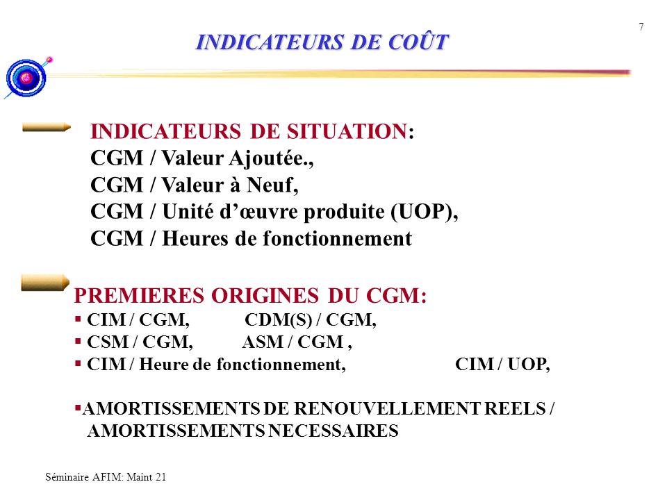 INDICATEURS DE SITUATION: CGM / Valeur Ajoutée., CGM / Valeur à Neuf,