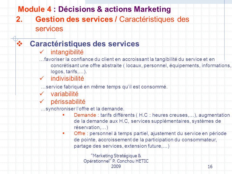 Gestion des services / Caractéristiques des services