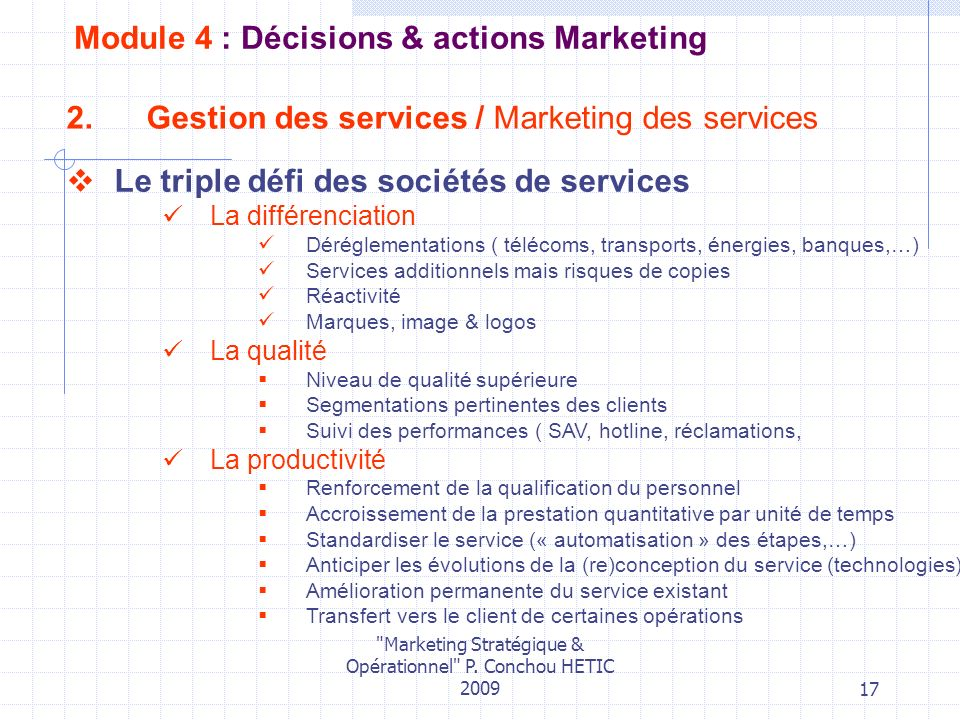 Gestion des services / Marketing des services