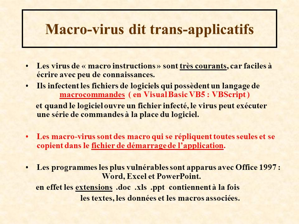 Macro-virus dit trans-applicatifs