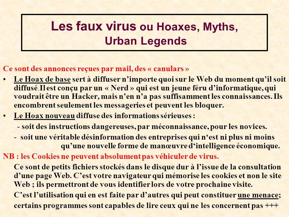 Les faux virus ou Hoaxes, Myths, Urban Legends