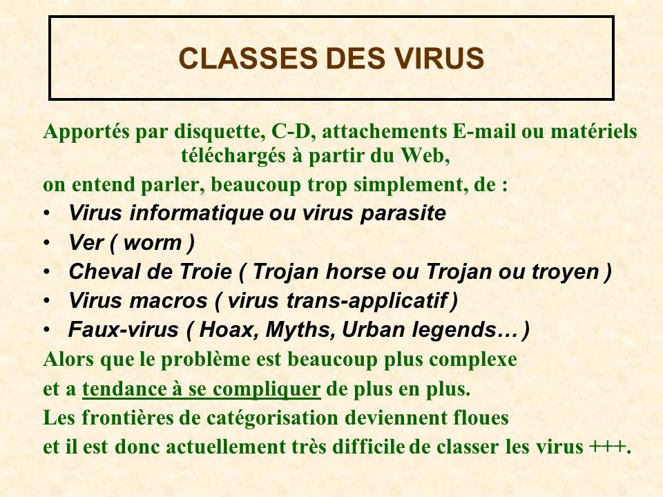 CLASSES DES VIRUS Apportés par disquette, C-D, attachements E-mail ou matériels téléchargés à partir du Web,