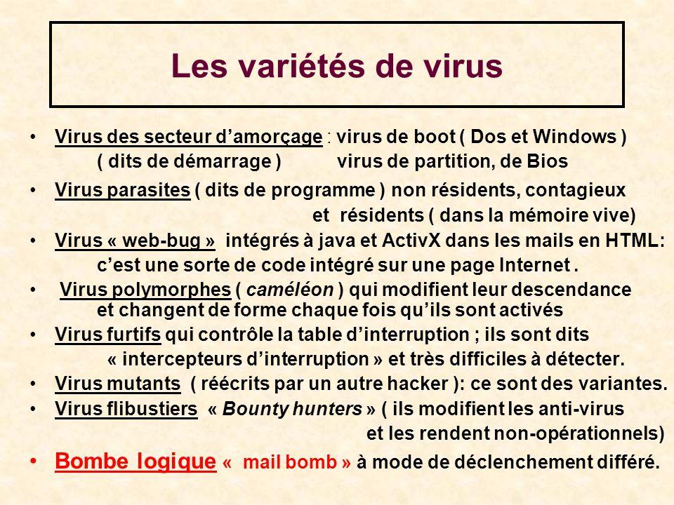 Les variétés de virus Virus des secteur d'amorçage : virus de boot ( Dos et Windows ) ( dits de démarrage ) virus de partition, de Bios.