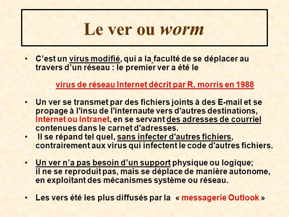 Le ver ou worm C'est un virus modifié, qui a la faculté de se déplacer au travers d'un réseau : le premier ver a été le.