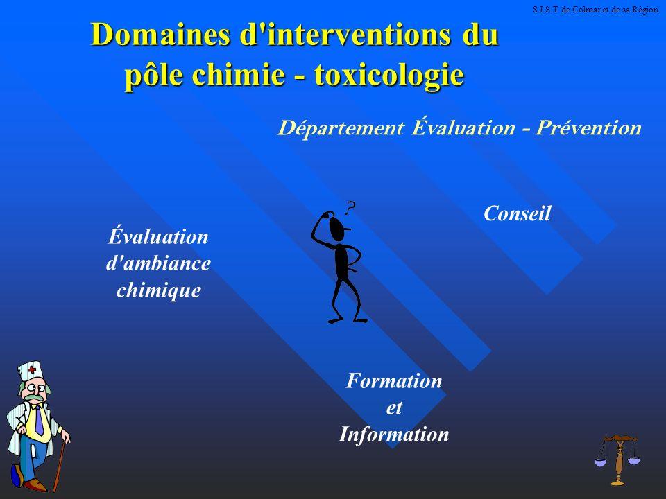 Domaines d interventions du pôle chimie - toxicologie