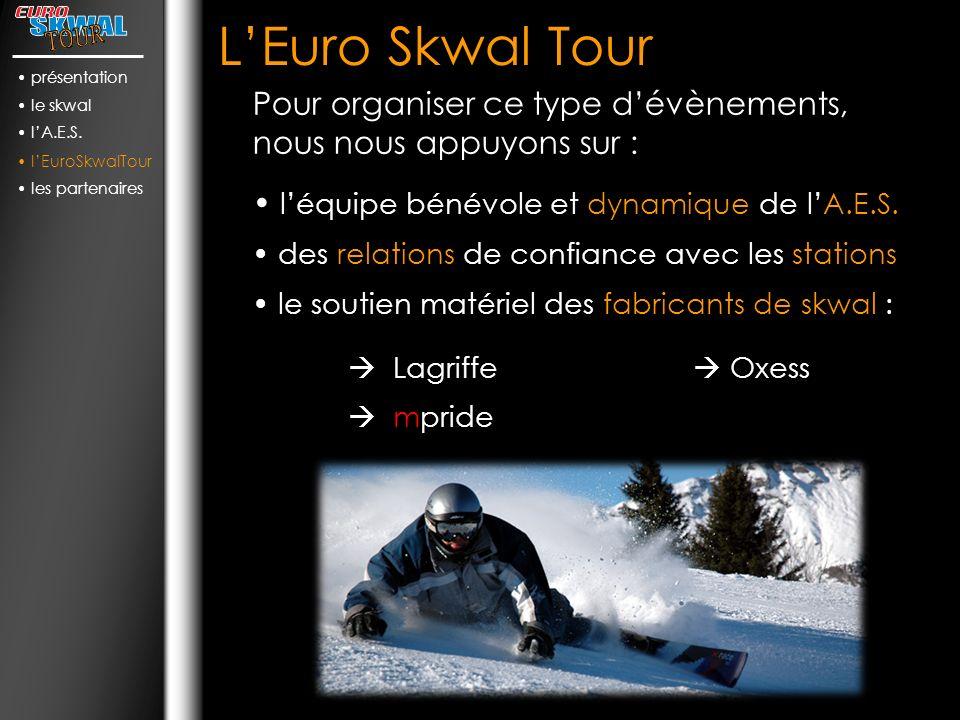 présentation le skwal. l'A.E.S. l'EuroSkwalTour. les partenaires. L'Euro Skwal Tour.