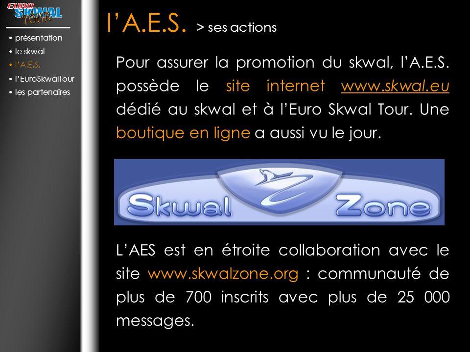 présentation le skwal. l'A.E.S. l'EuroSkwalTour. les partenaires. l'A.E.S. > ses actions.