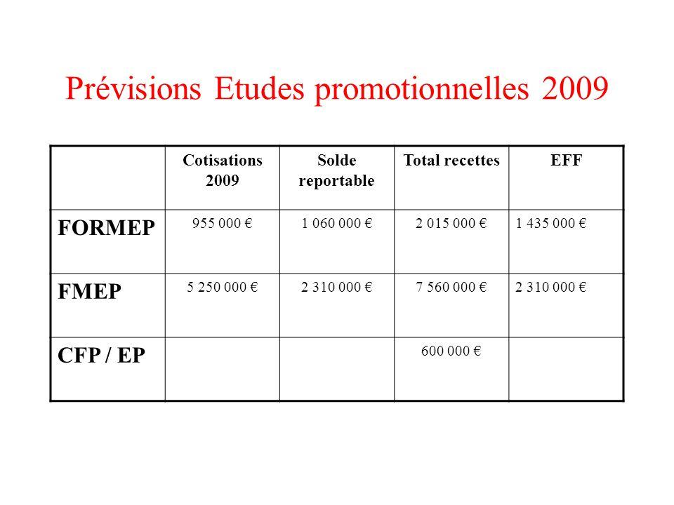 Prévisions Etudes promotionnelles 2009
