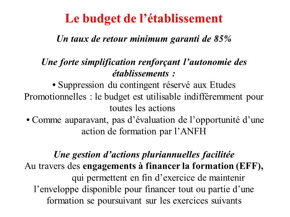 Le budget de l'établissement Un taux de retour minimum garanti de 85% Une forte simplification renforçant l'autonomie des établissements : • Suppression du contingent réservé aux Etudes Promotionnelles : le budget est utilisable indifféremment pour toutes les actions • Comme auparavant, pas d'évaluation de l'opportunité d'une action de formation par l'ANFH Une gestion d'actions pluriannuelles facilitée Au travers des engagements à financer la formation (EFF), qui permettent en fin d'exercice de maintenir l'enveloppe disponible pour financer tout ou partie d'une formation se poursuivant sur les exercices suivants