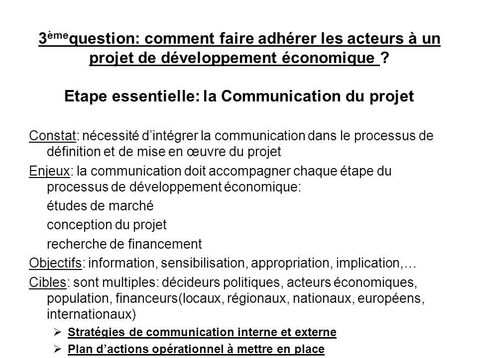 Etape essentielle: la Communication du projet