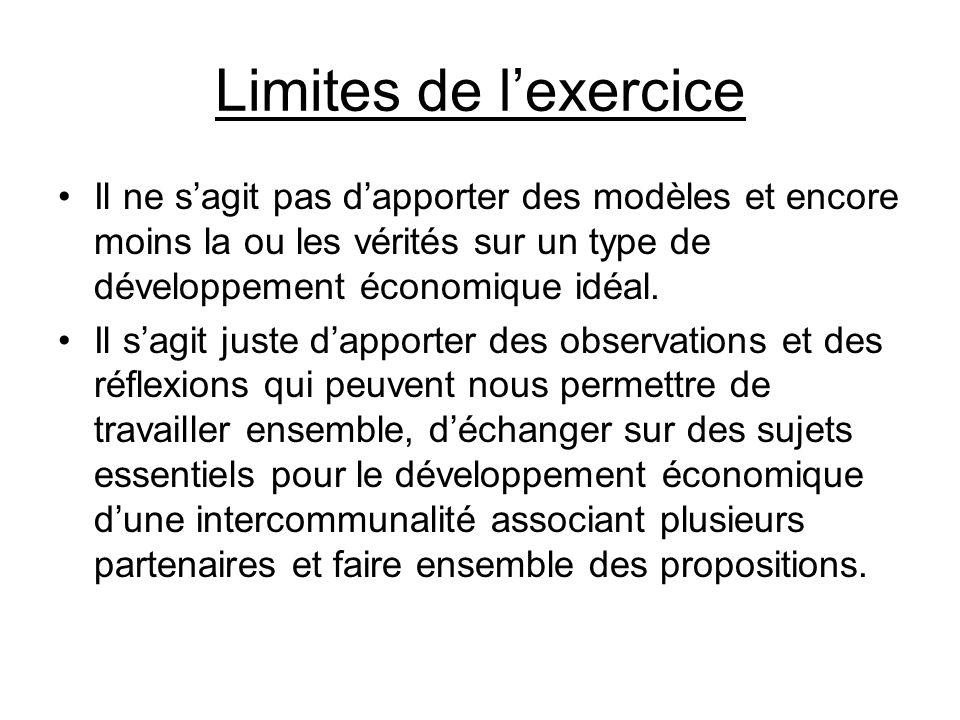 Limites de l'exercice Il ne s'agit pas d'apporter des modèles et encore moins la ou les vérités sur un type de développement économique idéal.