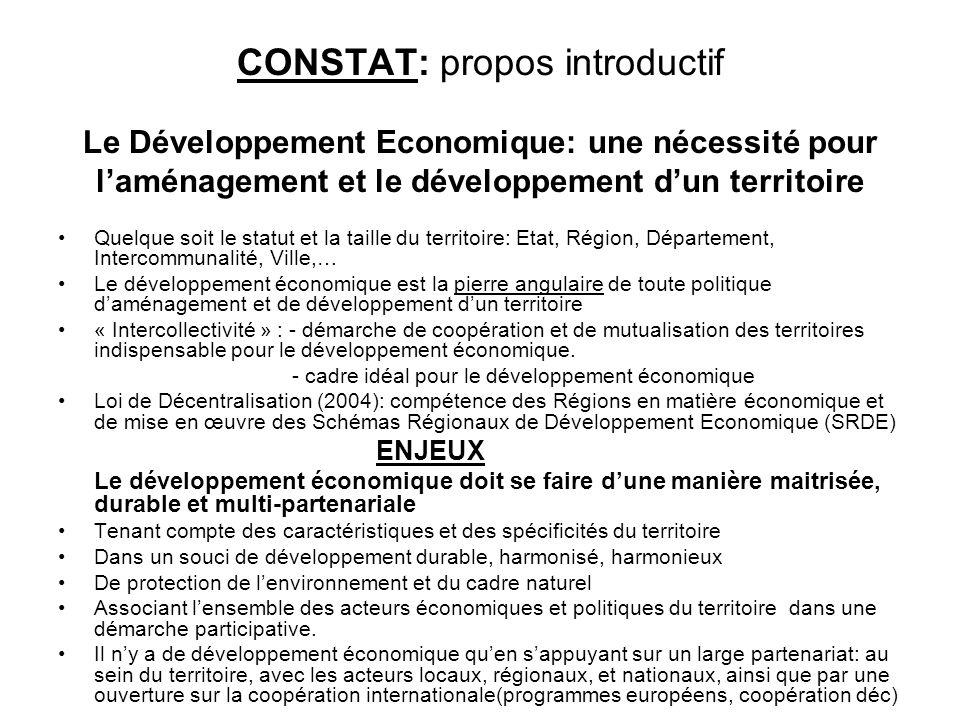 CONSTAT: propos introductif Le Développement Economique: une nécessité pour l'aménagement et le développement d'un territoire
