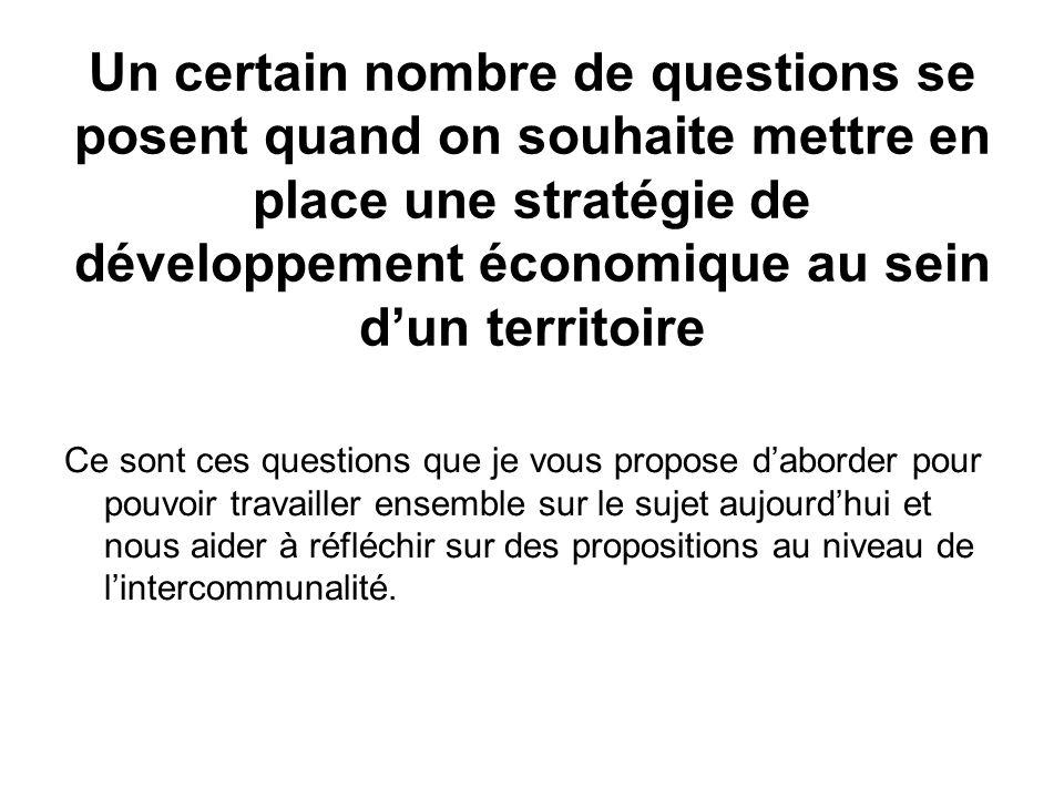 Un certain nombre de questions se posent quand on souhaite mettre en place une stratégie de développement économique au sein d'un territoire