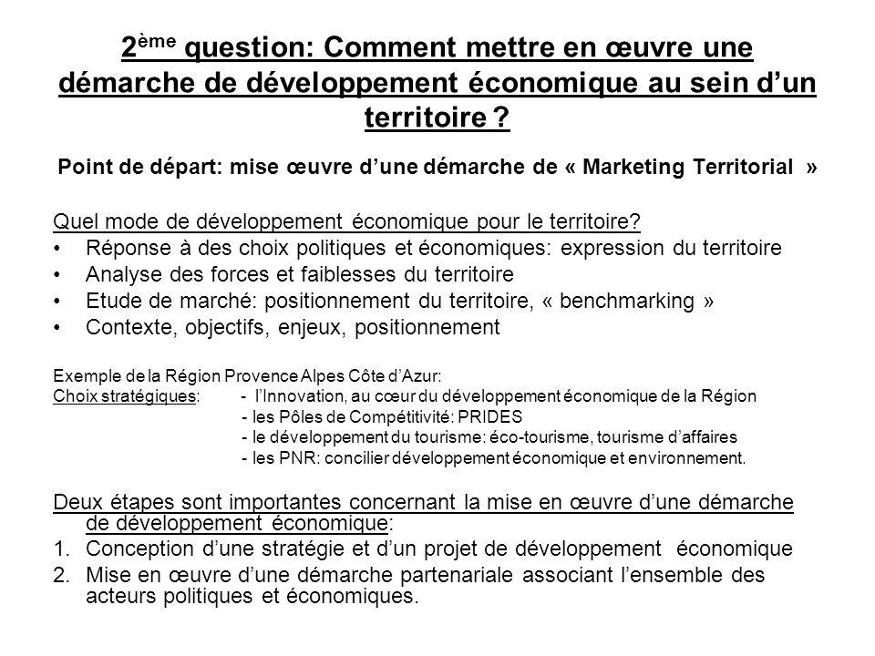 2ème question: Comment mettre en œuvre une démarche de développement économique au sein d'un territoire