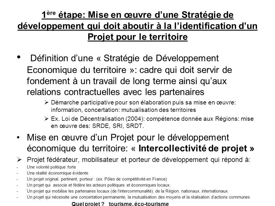 1ère étape: Mise en œuvre d'une Stratégie de développement qui doit aboutir à la l'identification d'un Projet pour le territoire