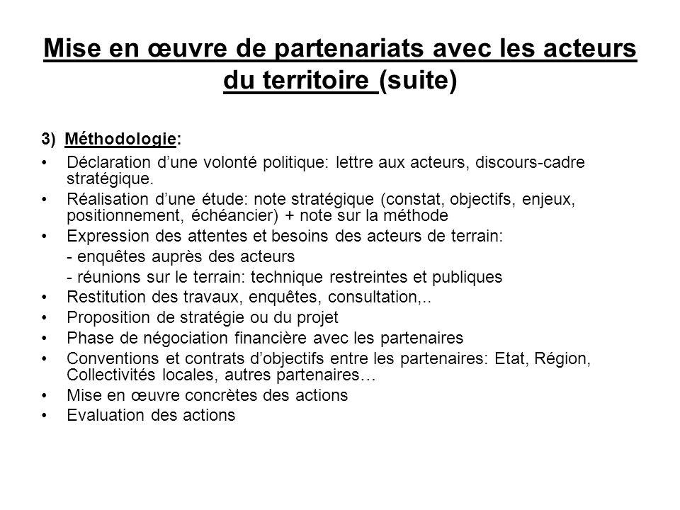 Mise en œuvre de partenariats avec les acteurs du territoire (suite)