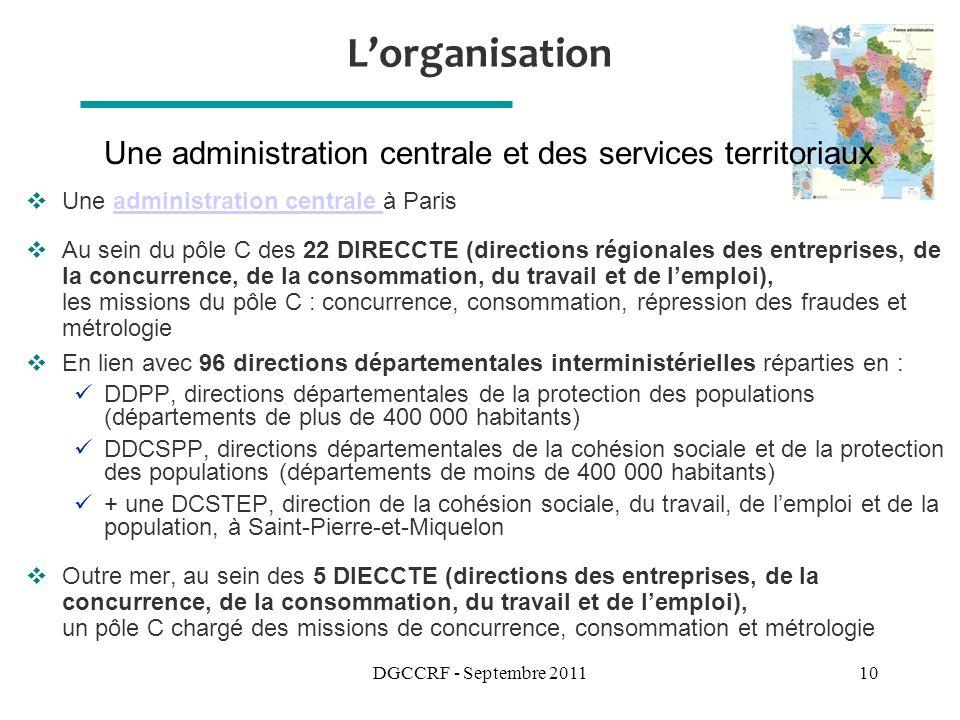 Une administration centrale et des services territoriaux