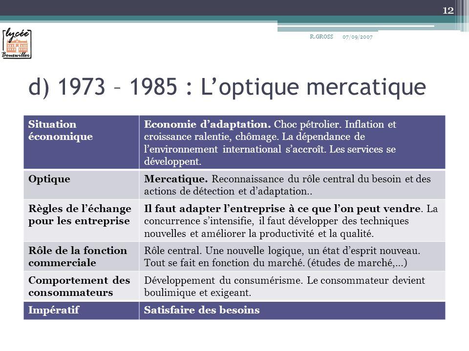d) 1973 – 1985 : L'optique mercatique