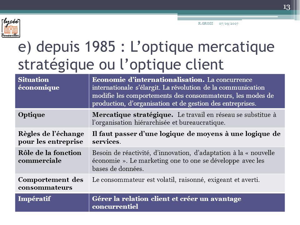 e) depuis 1985 : L'optique mercatique stratégique ou l'optique client