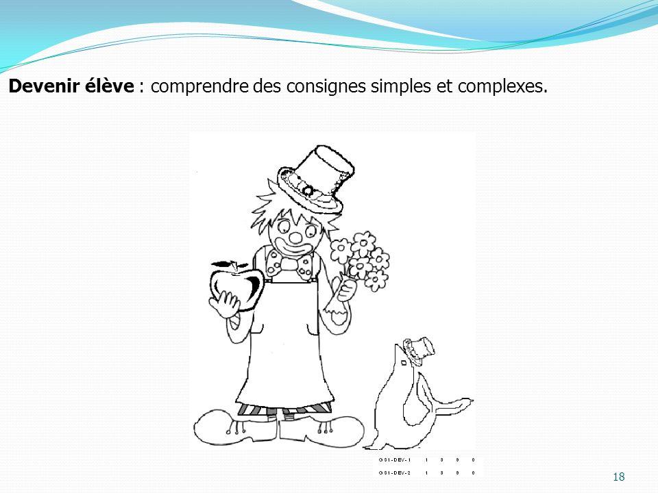Devenir élève : comprendre des consignes simples et complexes.