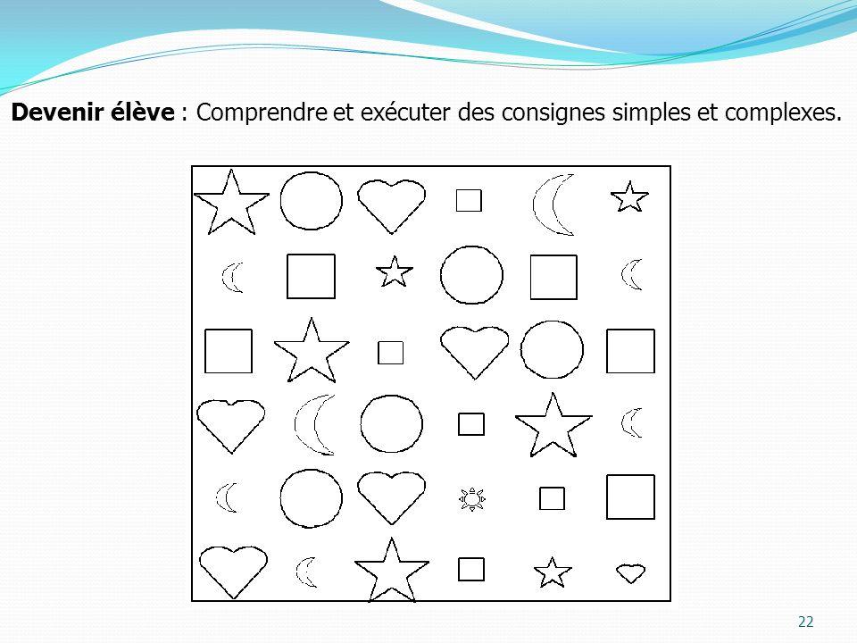 Devenir élève : Comprendre et exécuter des consignes simples et complexes.