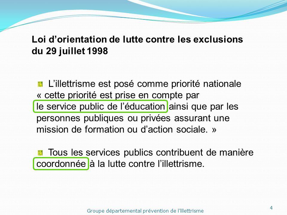 Groupe départemental prévention de l'illettrisme