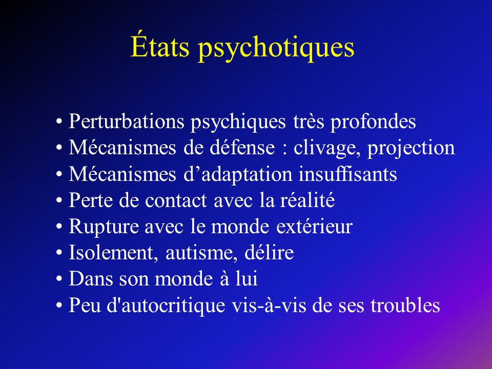 États psychotiques Perturbations psychiques très profondes