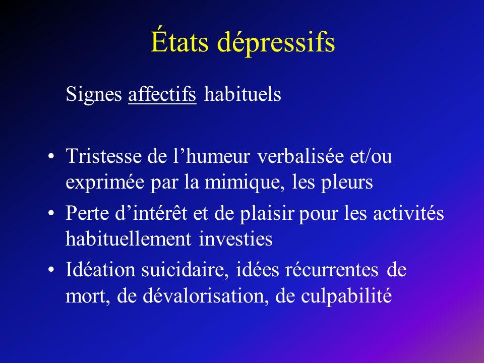 États dépressifs Signes affectifs habituels