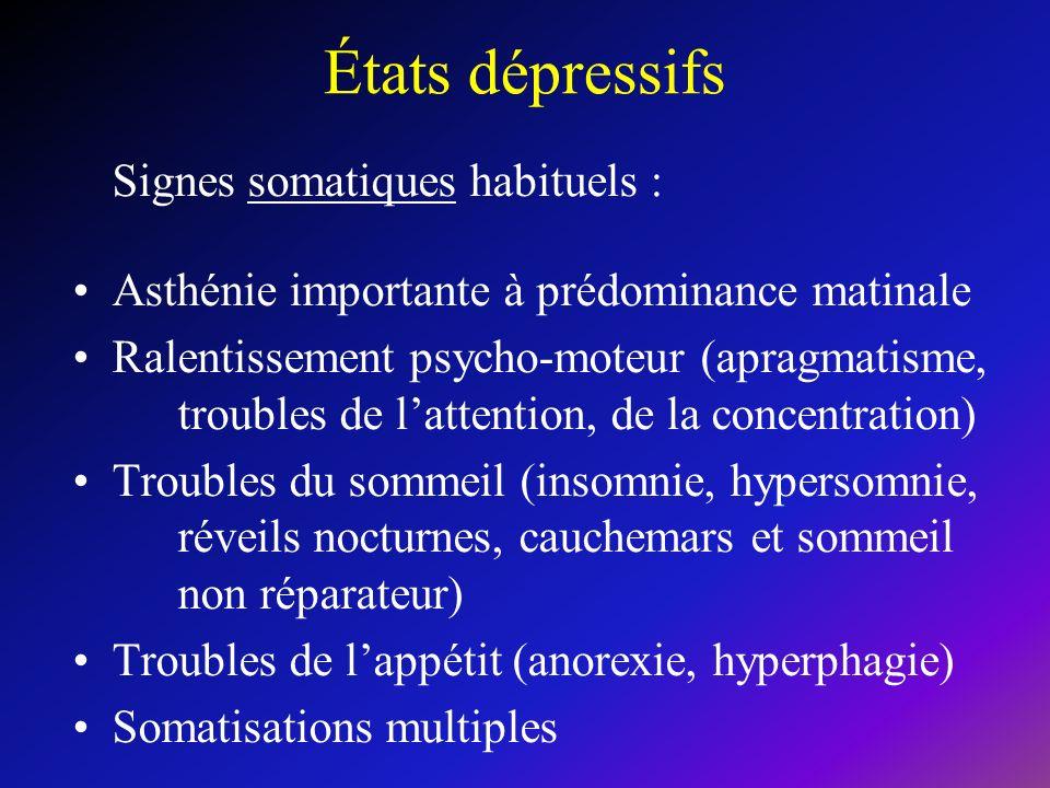 États dépressifs Signes somatiques habituels :