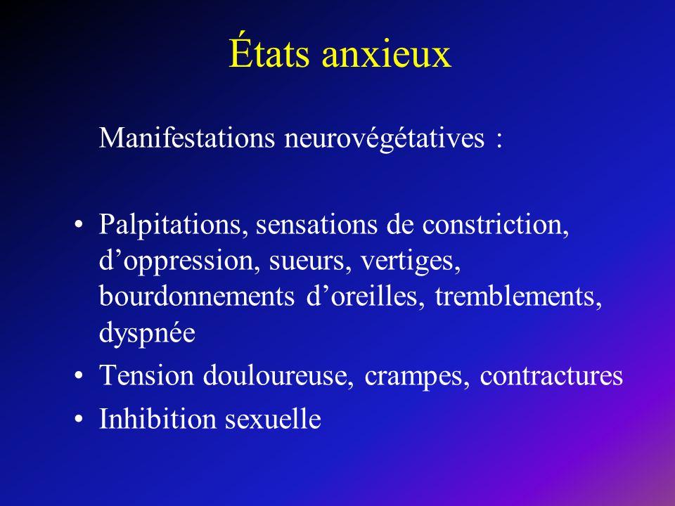États anxieux Manifestations neurovégétatives :