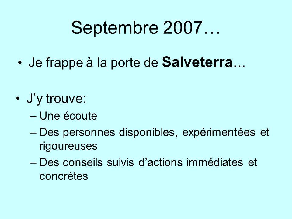 Septembre 2007… Je frappe à la porte de Salveterra… J'y trouve: