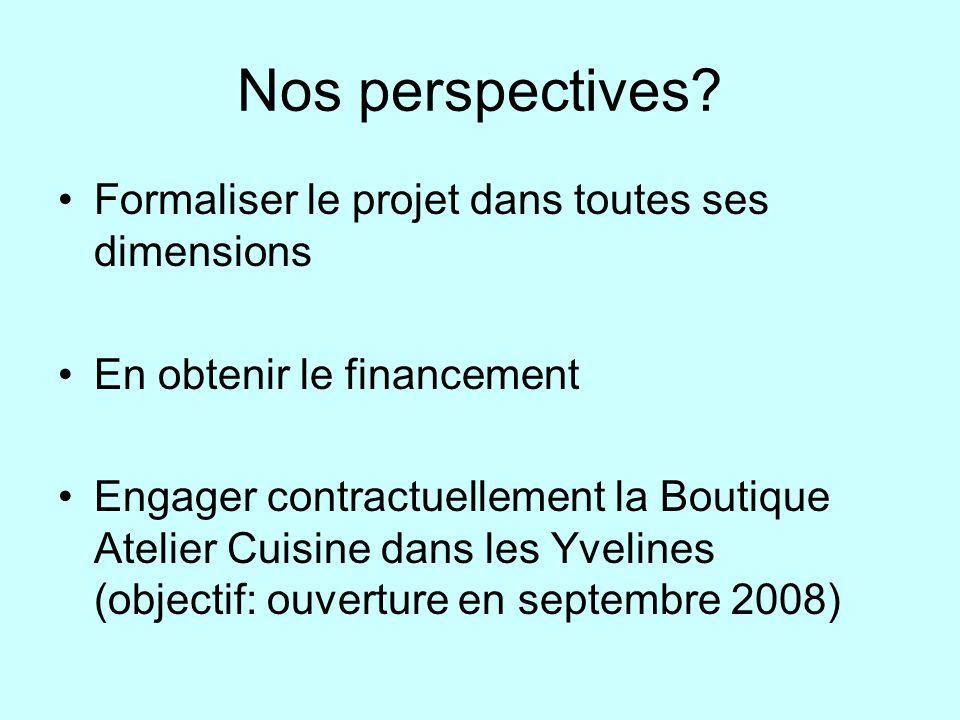 Nos perspectives Formaliser le projet dans toutes ses dimensions