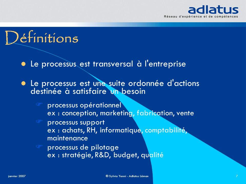 Définitions Le processus est transversal à l entreprise