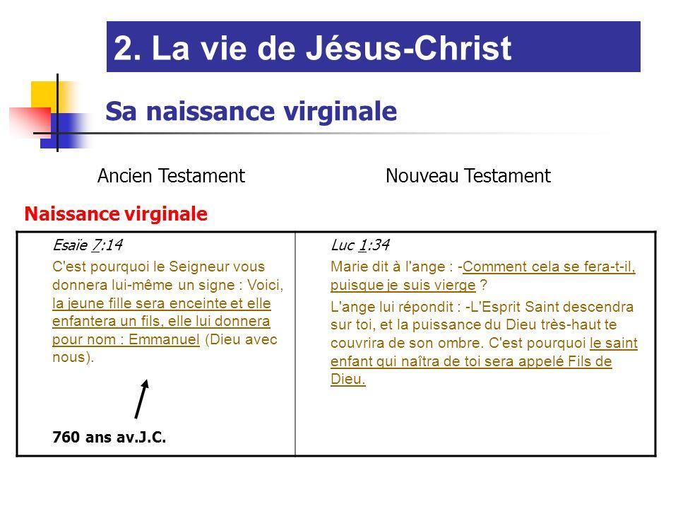 2. La vie de Jésus-Christ Sa naissance virginale Ancien Testament