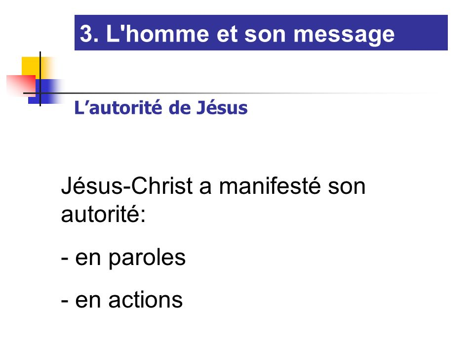 Jésus-Christ a manifesté son autorité: en paroles en actions