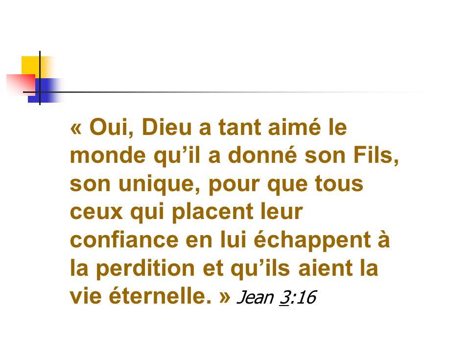 « Oui, Dieu a tant aimé le monde qu'il a donné son Fils, son unique, pour que tous ceux qui placent leur confiance en lui échappent à la perdition et qu'ils aient la vie éternelle.