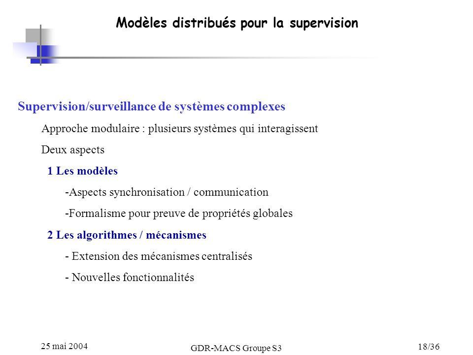 Modèles distribués pour la supervision