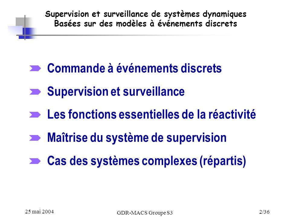 Commande à événements discrets Supervision et surveillance