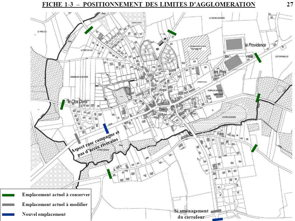 FICHE 1-3 – POSITIONNEMENT DES LIMITES D'AGGLOMERATION
